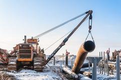 budowa gazociągu dwa ciągników, zdjęcia stock
