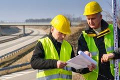 budowa geodeta planuje read miejsce Fotografia Stock