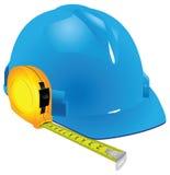 Budowa hełm i pomiarowa taśma ilustracja wektor