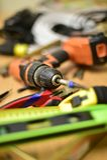 Budowa i narzędzia na stole Zdjęcie Royalty Free