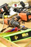 Budowa i narzędzia na stole Obrazy Royalty Free
