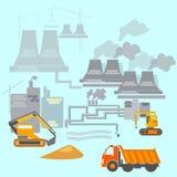 Budowa i transport: ekskawatory, ciężarówki ilustracja wektor