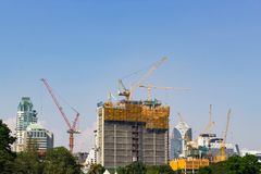 Budowa i żurawie Zdjęcie Royalty Free