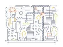 Budowa - kreskowy projekta skład ilustracja wektor