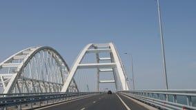 Budowa linia kolejowa Krymski most Basztowi żurawie przy pracą Stosy tonący w seawater Instalacja zbiory