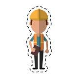 Budowa mężczyzna hełma narzędzia pasek i ciąca linia ilustracji