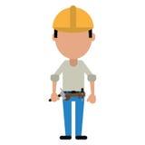 Budowa mężczyzna hełma narzędzia pasek i ciąca linia royalty ilustracja