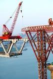Budowa most przez rzekę Zdjęcie Stock