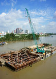 Budowa na Saigon rzece Zdjęcia Stock