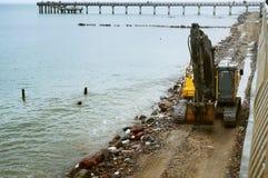 Budowa nabrzeżne ochronne struktury, budowa Fotografia Royalty Free