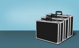 Budowa, naprawa, narzędzia - Trzy Popielaty czarny pudełko dla narzędzi błękitnych Fotografia Stock