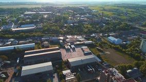 Budowa nowożytna produkcji fabryka lub budynek, przydzielająca w countyside terenie 4K zbiory wideo