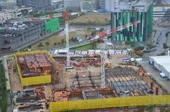 Budowa Ograniczająca w Tseung Kwan O Przemysłowym terenie miasta telecom, Hong Kong Obrazy Royalty Free