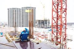 Budowa placu budowy pracownicy zdjęcia stock