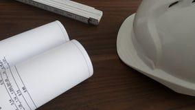 Budowa planuje biurowego biurko zdjęcie royalty free