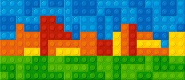 Budowa plastikowi bloki ilustracji