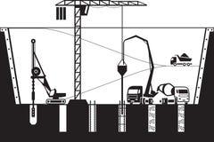 Budowa podstawy budynek ilustracja wektor