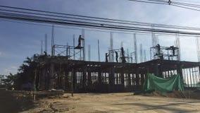 Budowa pracowników czasu upływ w Thailand sylwetka zbiory wideo