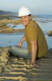 budowa pracownik szczęśliwy uśmiechnięty Fotografia Royalty Free