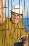 budowa pracownik szczęśliwy uśmiechnięty Obraz Royalty Free