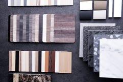 Budowa projekt Wewnętrzny Materialny projekta pojęcie Drewnianej tekstury podłogowe próbki laminat i winylowa podłogowa płytka 4 fotografia royalty free