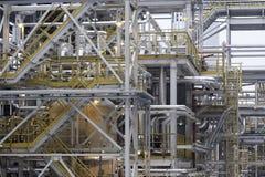 budowa przemysłowej paliwowy produkcja zakład petrochemiczny, przerafinowywa obraz stock