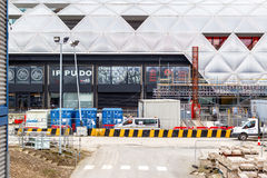 Budowa przy Crossrail miejscem w Canary Wharf Obraz Stock