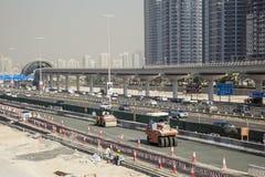 Budowa przy Sheikh Zayed drogą w Dubaj Obraz Royalty Free