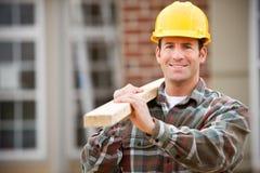 Budowa: Rozochocony pracownik budowlany obrazy stock
