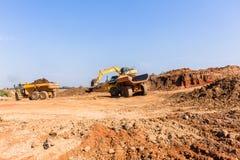 Budowa szanów ekskawatoru równiarki ciężarówki zdjęcia royalty free