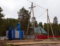 Budowa transformatorowa podstaci i przekazu linia zdjęcia stock