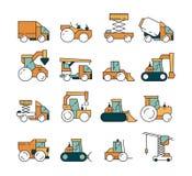 Budowa transport Maszyny ciężkie ciężarówki asfaltu autostrada na maszynach dla budowniczych podnosi dźwigowych buldożerów ciągni ilustracji