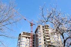 Budować w budowie przeciw niebieskiemu niebu. Fotografia Stock
