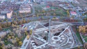 Budowa w miasta widok z lotu ptaka zdjęcie wideo
