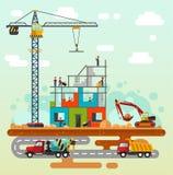 Budowa z budowniczymi ilustracja wektor