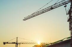 Budowa z wschodem słońca Zdjęcia Stock