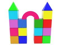 Budowa zabawkarscy sześciany z dachami Obrazy Royalty Free