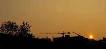 Budowa zmierzch - sylwetka Obrazy Stock