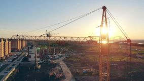 budowa zmierzch Budowa teren, buduje teren, miejsce teren od above zdjęcie wideo