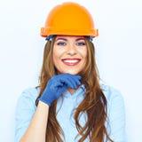 Budowniczego architekta biznesowa kobieta z dużym toothy uśmiechu studiiem p Zdjęcia Royalty Free