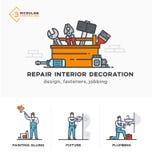 Budowniczowie, nowy projekt, inżynier, kosztorysy sceny Ilustracji