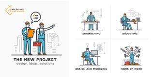 Budowniczowie, nowy projekt, inżynier, kosztorysy sceny Royalty Ilustracja