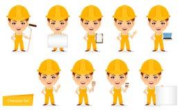Budowniczy kobieta Śmieszny żeński pracownik z dużą głową Set humorystyczny postać z kreskówki ilustracja wektor