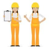 Budowniczy kobieta pokazuje aprobaty Obraz Royalty Free