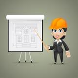 Budowniczy kobiety punkty na flipchart royalty ilustracja