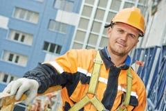 Budowniczy przy fasadowym robot budowlany Obraz Royalty Free