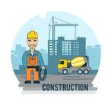 Budowniczy przy pracą ilustracja wektor