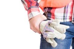 Budowniczy ręki mienia budowy rękawiczki obraz stock