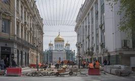 Budowniczy rekonstruujący Katedralny pas ruchu Fotografia Stock