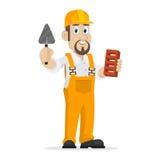 Budowniczy trzyma cegłę i kielnię Zdjęcia Stock
